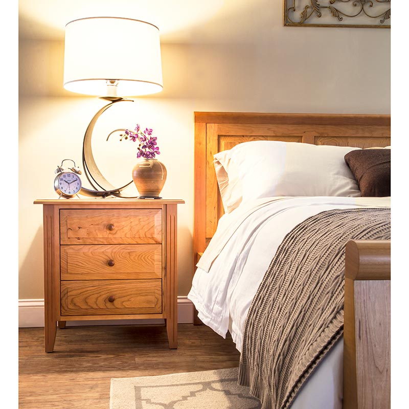 Natural Solid Cherry Wood Nightstand