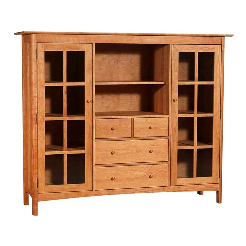 shaker bookcase home office center cabinet solid wood