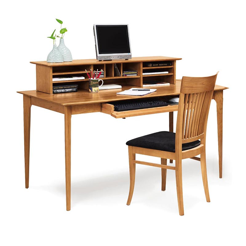 Sarah Solid Cherry Wood Desk with Organizer | Custom Hand Made in USA