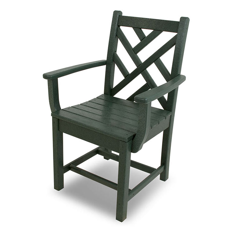 Chippendale Outdoor Dining Arm Chairs, Green