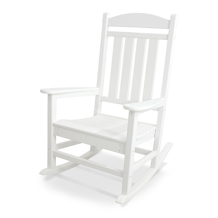 in stock white rockers recycled plastic polywood outdoor presidential rocking chair usa made. Black Bedroom Furniture Sets. Home Design Ideas