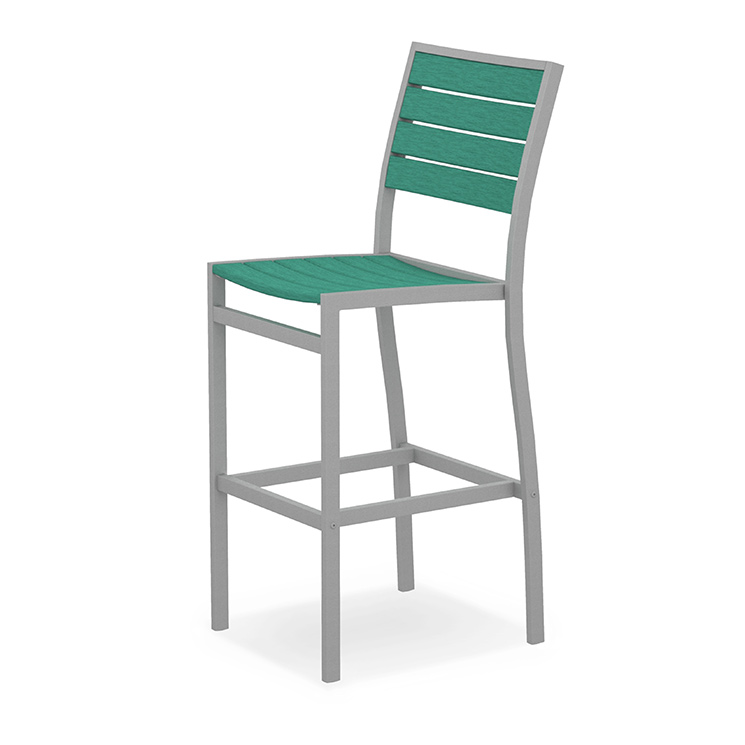 Outdoor Euro Bar Height Side Chair | Polywood Commercial Quality Aluminum  Outdoor Bar Chairs | White, Blue, Green Colors