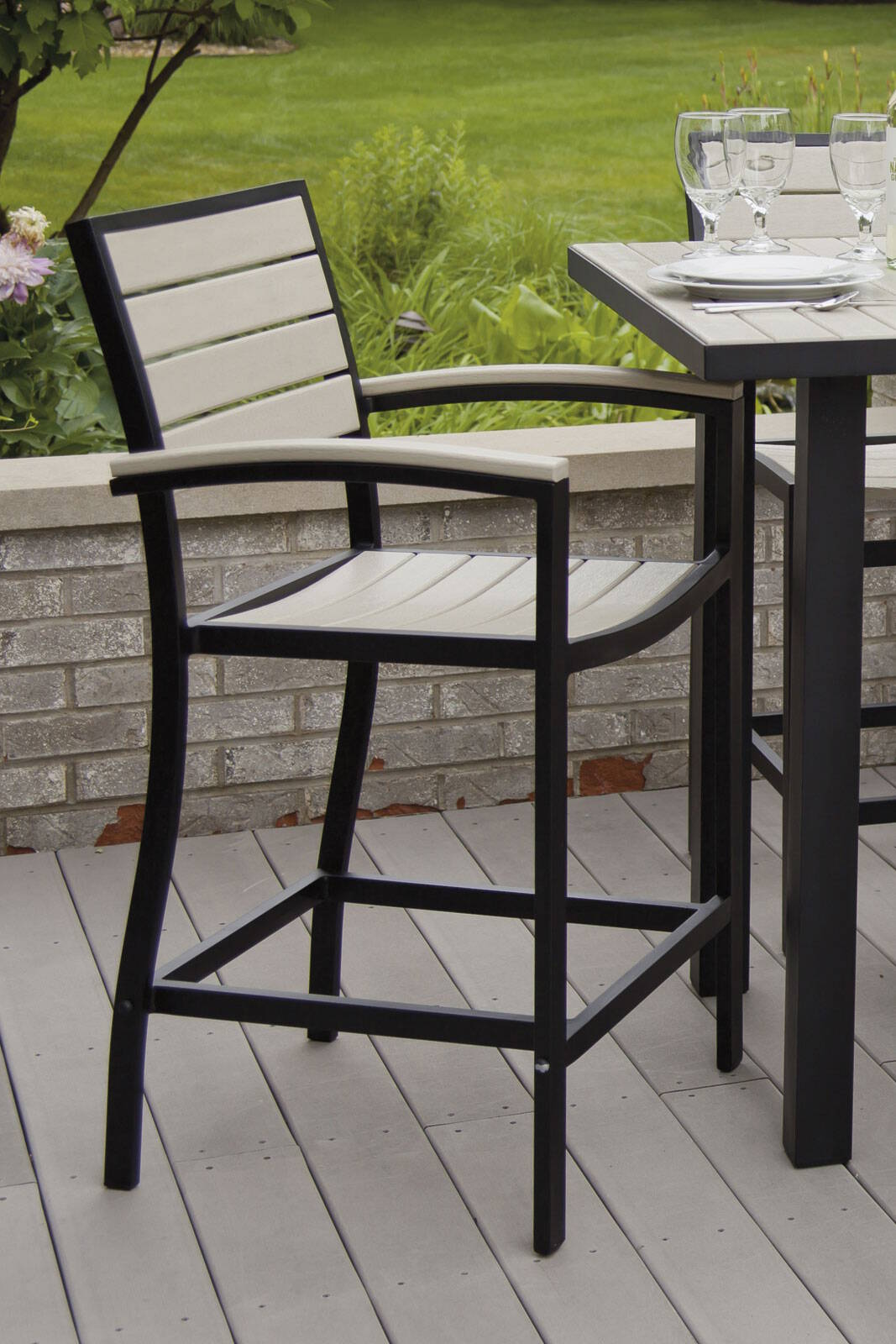 Outdoor Euro Counter Height Arm Chair
