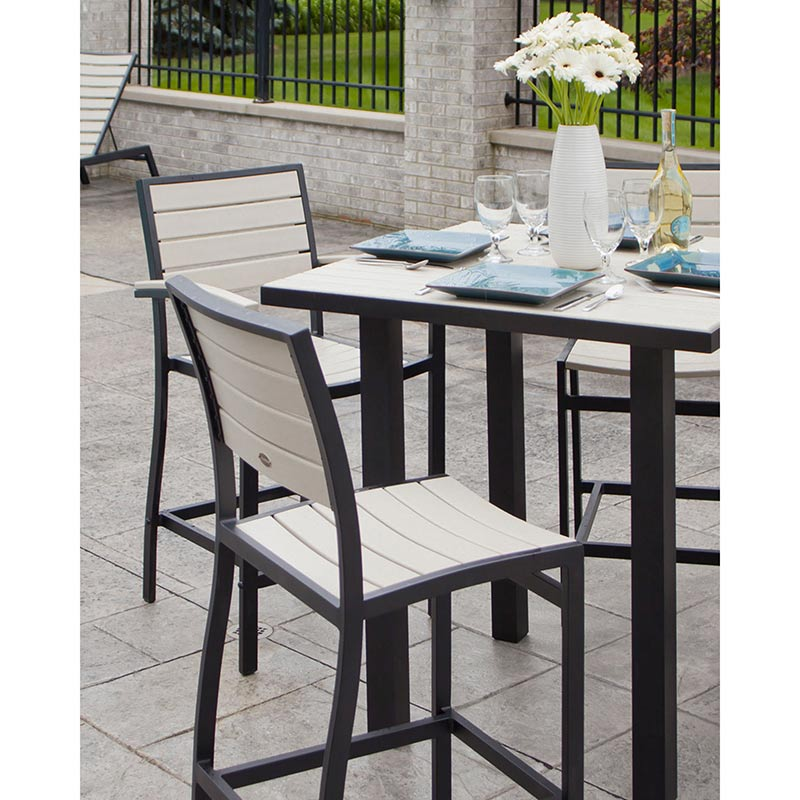 Outdoor Euro Counter Height Side Chair Polywood High End Aluminum ...