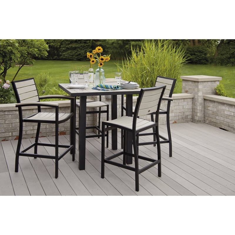 Outdoor Euro Counter Height Side Chair Polywood High End Aluminum Outdoor D
