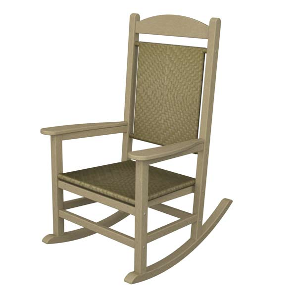 Presidential Woven Wicker Outdoor Rocking Chair Polywood Recycled Plastic