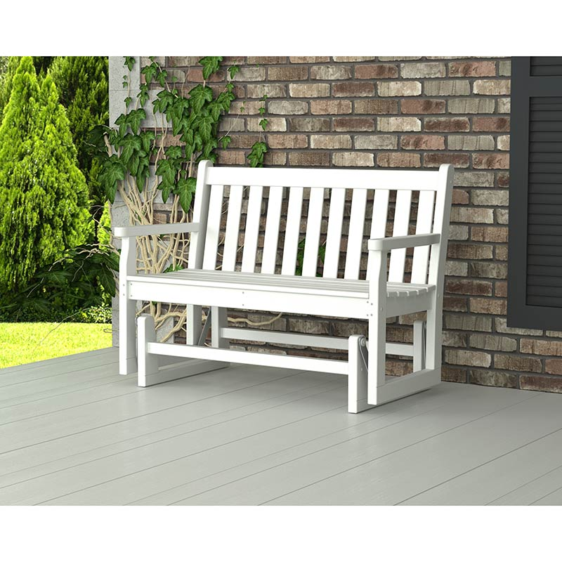 Traditional Style Outdoor Glider Bench Ultra Durable All Weather Recycled Plastic Outdoor