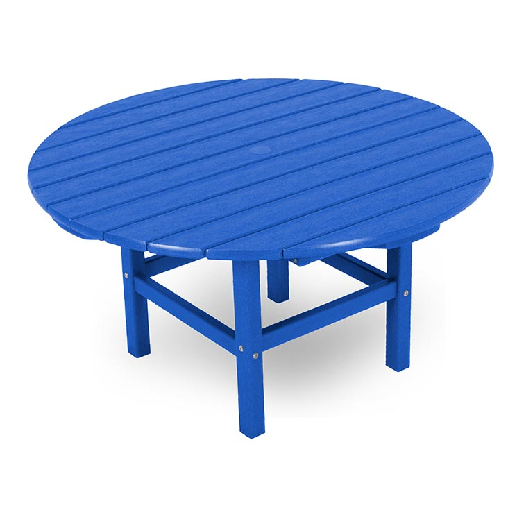 In Stock Blue Polywood Large Round Outdoor Coffee Table