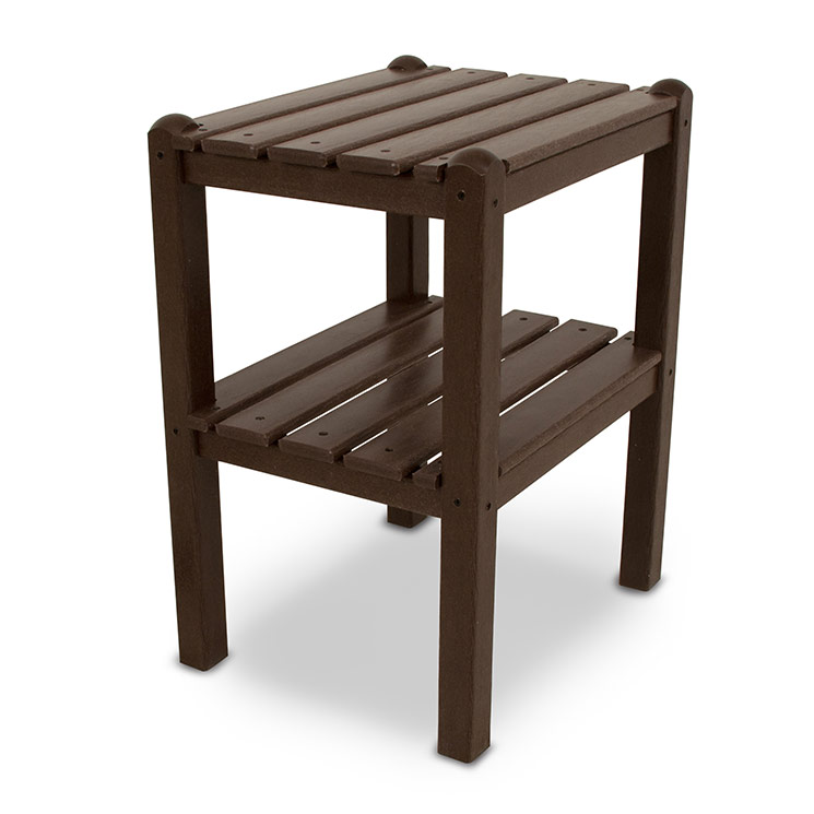 Polywood outdoor small side or end table with shelf for Outdoor furniture end tables