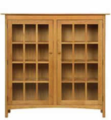 Modern Shaker 2-Glass Door Bookcase