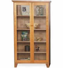 Custom Shaker Bookcase Full Glass Doors