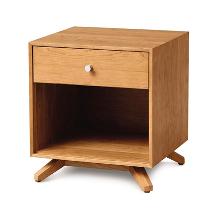 Astrid Cherry 1-Drawer Enclosed Shelf Nightstand