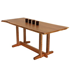 Boston Trestle Dining Table - Live Edge