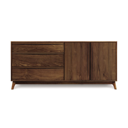 Catalina 2 Door, 3 Side Drawer Walnut Buffet