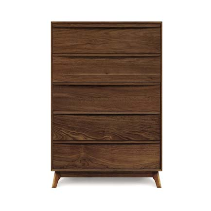 Catalina Walnut 5-Drawer Wide Chest