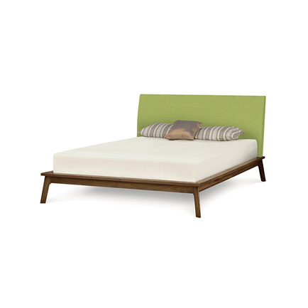 Catalina Walnut Platform Bed with Upholstered Headboard