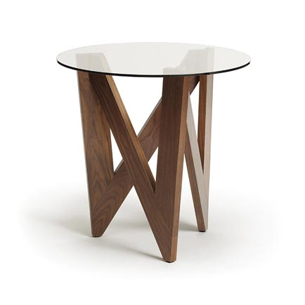 Check Walnut Round End Table