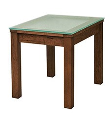 Classic Shaker Glass Top End Table - In Stock
