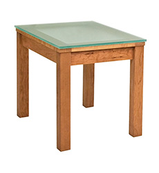Classic Shaker Glass Top End Table