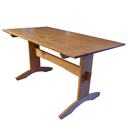 Tiger Maple Trestle Dining Table