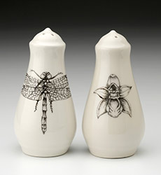 Salt & Pepper Shakers - Dragonfly and Orchid