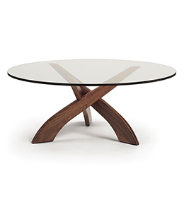 Entwine Walnut Round Glass Top Coffee Table