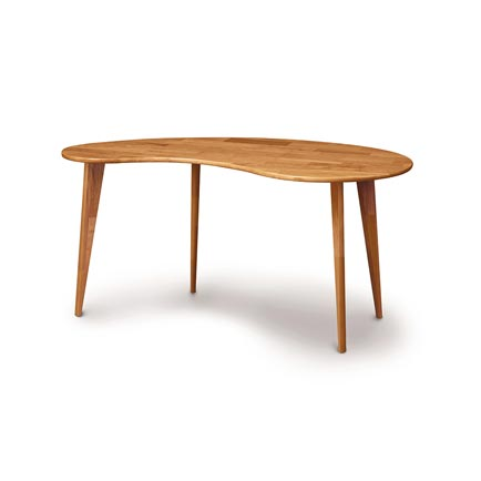 Essentials Cherry Kidney Shaped Desk with Wood Legs