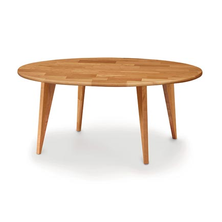 Essentials Cherry Round Coffee Table with Wood Legs