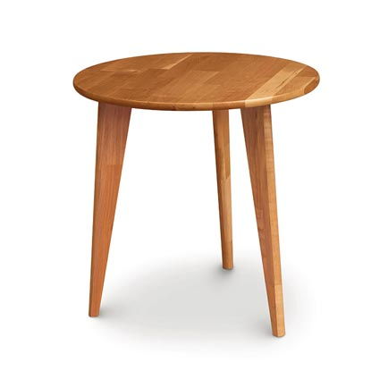 Essentials Cherry Round End Table with Wood Legs