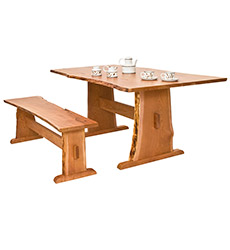 Natural Live Edge Trestle Table
