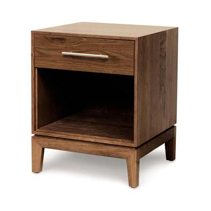 Mansfield Walnut 1-Drawer Enclosed Shelf Nightstand