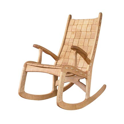 Custom Quilted Vermont Rocking Chair - Birdseye Maple