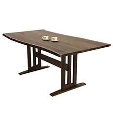 Modern Contemporary Trestle Table - Live Edge