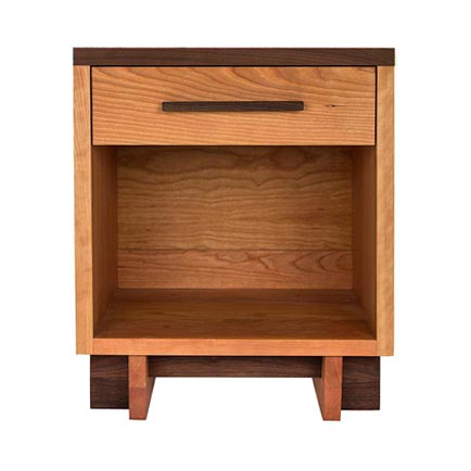 Modern American 1-Drawer Enclosed Shelf Nightstand