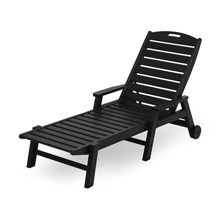 Nautical Wheeled Chaise with Arms - Stackable