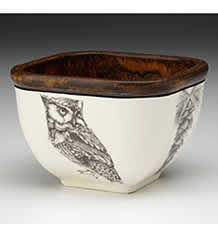 Small Square Bowl - Screech Owl