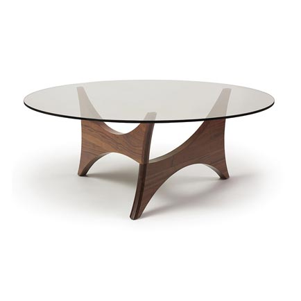 Pivot Walnut Round Glass Top Coffee Table