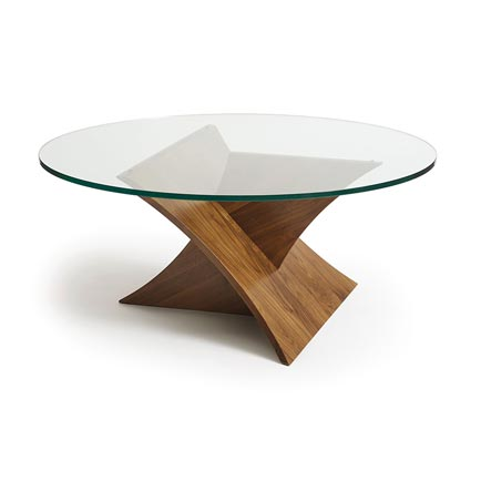 Planes Walnut Round Glass Top Coffee Table