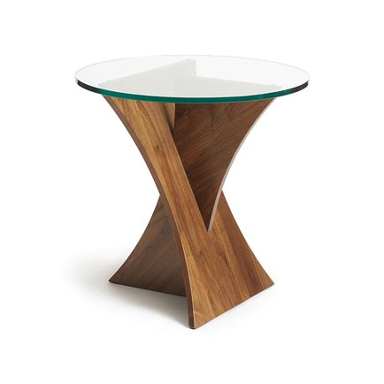 Planes Walnut Round Glass Top End Table