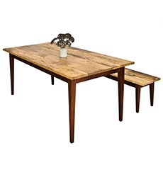 Reclaimed Barnwood Farm Table With Tapered Legs