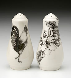 Salt & Pepper Shakers - Rooster and Apple Blossom