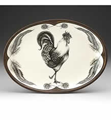 Small Oval Platter - Rooster