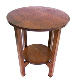 Large Round Tabouret Table with Shelf