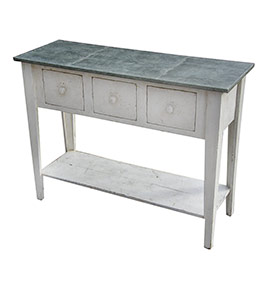 Rustic Barnwood Sideboard with Zinc Top