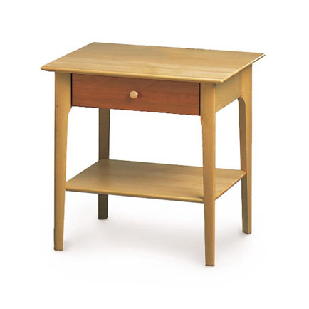 Sarah Cherry and Maple 1-Drawer Open Shelf Nightstand