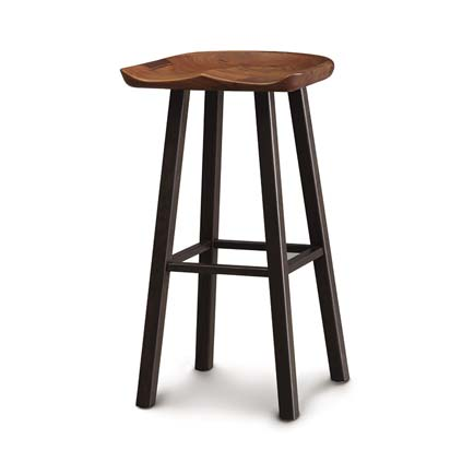 Modern Farmhouse Walnut Tractor Seat Bar Stool