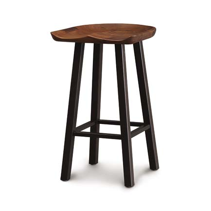 Modern Farmhouse Walnut Tractor Seat Counter Stool