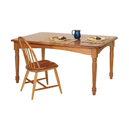 Rectangular Turned Leg Dining Table, Cherry - Clearance