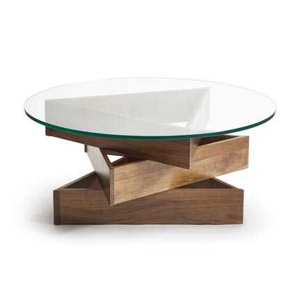 Twist Walnut Round Glass Top Coffee Table