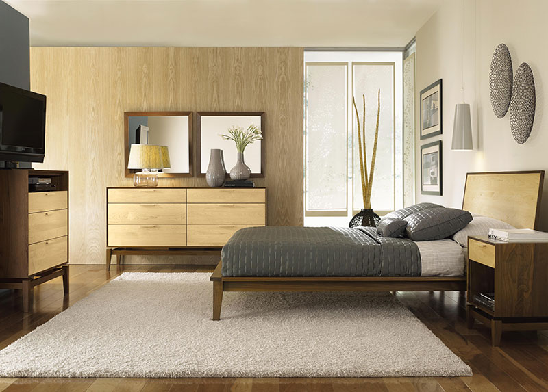 Copeland Soho Bedroom Set American Made Solid Walnut Maple Wood
